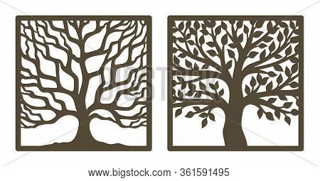 Two Trees In A Square Frame, With And Without Leaves. Brown Trunk, Branches. Design Element, Sample