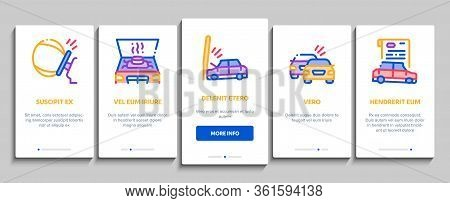 Car Crash Accident Onboarding Mobile App Page Screen Vector. Car Crash And Burning, Airbag Deployed