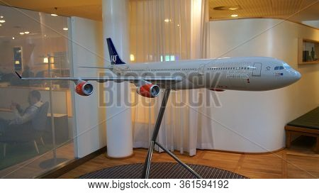Copenhagen, Denmark - Jul 06th, 2015: Airport Interior Inside A Business Lounge With An Airplane Mod