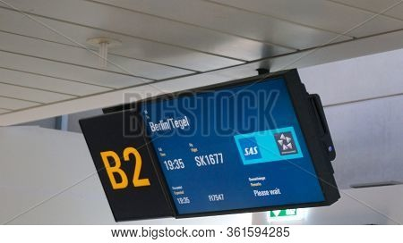 Copenhagen, Denmark - Jul 06th, 2015: Departure Board At Gate On Copenhagen Airport
