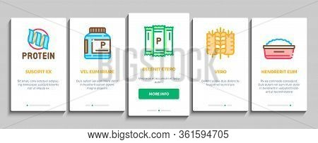 Protein Food Nutrition Onboarding Mobile App Page Screen Vector. Bottle And Package With Protein, Fi