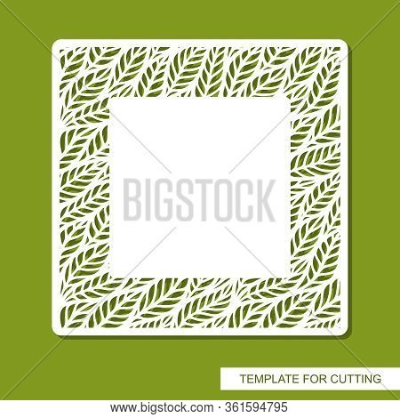 Vector Square Frame With Blank Space For Text. Floral Pattern Around The Edge. Sample Panel For Plot