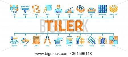 Tiler Work Equipment Minimal Infographic Web Banner Vector. Tiler Rectangular Notched Trowel And Ele