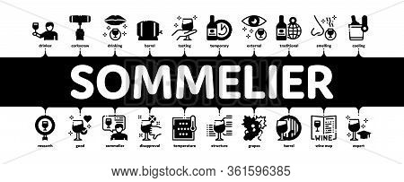 Sommelier Wine Tasting Minimal Infographic Web Banner Vector. Sommelier Hold Glass With Alcoholic Dr