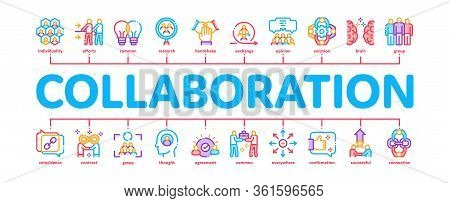Collaboration Work Minimal Infographic Web Banner Vector. Human And Brain Collaboration, Worker Rese