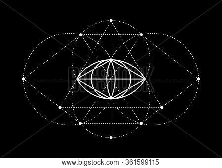 Vesica Piscis Sacred Geometry. All Seeing Eye, The Third Eye Or The Eye Of Providence Inside Triangl