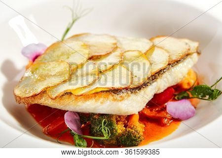 Fried flounder fillet on baked potato slices. Served luxury cuisine. Fish with tomato and olives ragout in white plate isolated. Restaurant high menu food portion. Delicious supper, main course