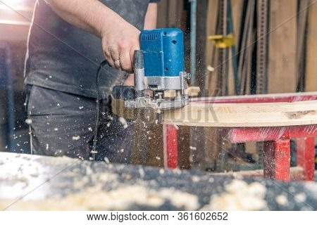 Milling Round Wooden Window By Hand Electric Cutter In Joinery