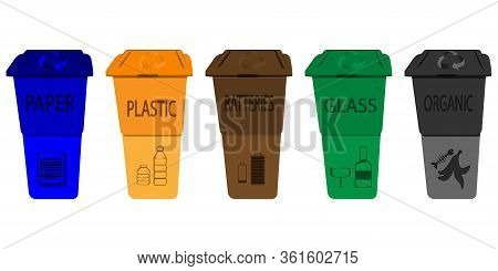 Recycling Bins. Set Of Trash Bins With Sorted Garbage. Organic, Plastic, Paper, Glass, Batteries. Re