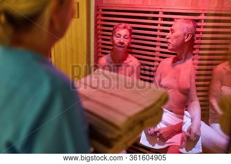 Seniors sweat in the steam sauna of the Senior Citizens' Residence for Health