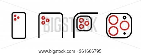 Set Of Module Triple Camera Of Different Scale Icons. Editable Line Vector.