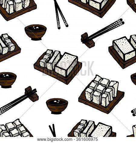 Tofu Soybean Curd Food With Chopsticks, Manual Slice Of Tofu Vector Illustration Isolated On White B