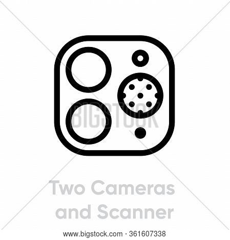 Two Cameras And Scanner Phone Multi-cameras Icon. Editable Line Vector.