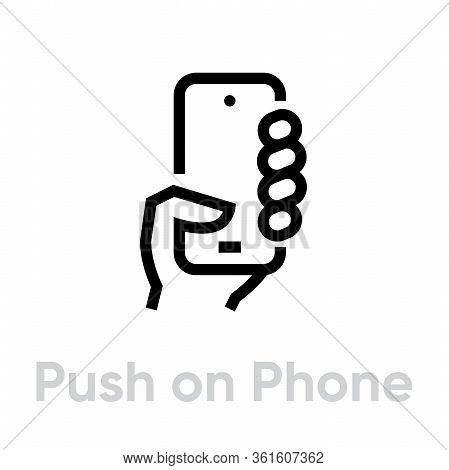 Push On Phone Cameras Icon. Editable Line Vector.