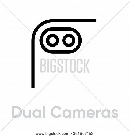 Dual Cameras Phone Multi-cameras Icon. Editable Line Vector.