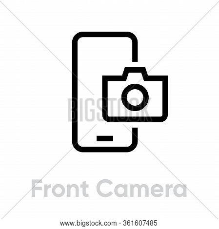 Front Camera Phone Camera Icon. Editable Line Vector.