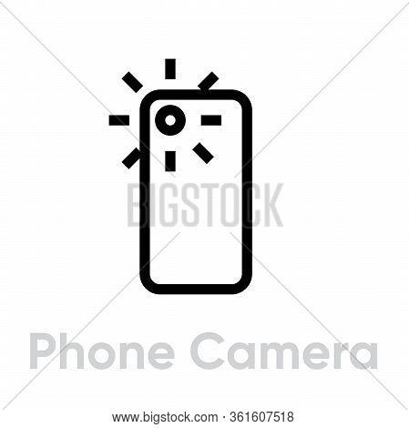 Phone Camera Camera Icon. Editable Line Vector.