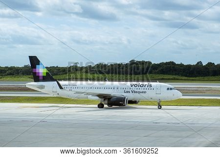Cancun, Mexico - Jan. 23, 2020: Volaris Airlines Airbus A320 At Cancun International Airport Cun, Ca