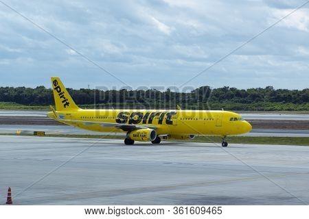 Cancun, Mexico - Jan. 23, 2020: Spirit Airlines Airbus A321 N681nk At Cancun International Airport C