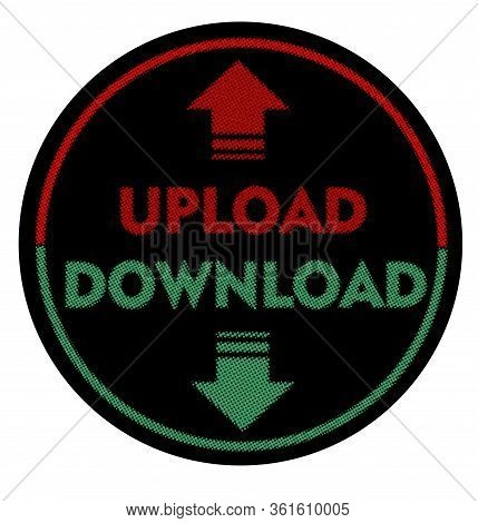Upload And Download Banner In Circle Shape, Halftone Design, Red Word Upload And Green Word Download