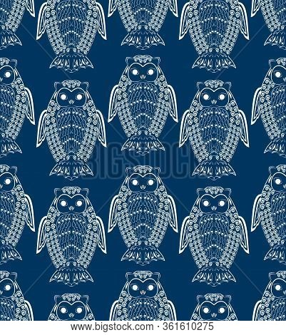 Cute Owls, White Drawing On Dark Blue Night Background, Seamless Patterns, Textile Design, Wrapping