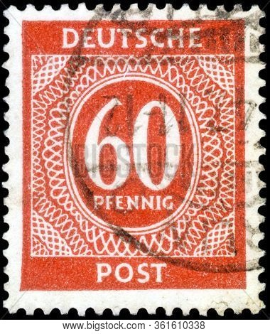 Saint Petersburg, Russia - April 14, 2020: Stamp Issued In The Germany, Allied Occupation, With The