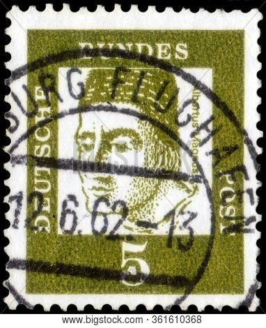 Saint Petersburg, Russia - April 14, 2020: Postage Stamp Printed In The Federal Republic Of Germany