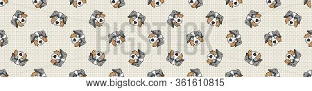 Hand Drawn Cute Australian Shepherd Dog Face Breed Seamless Border Pattern. Purebred Pedigree Domest