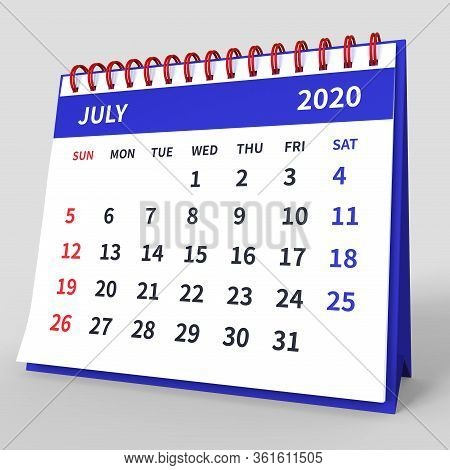 Standing Desk Calendar July 2020. Business Monthly Calendar With Red Spiral Bound, Week Starts On Su