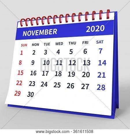 Standing Desk Calendar November 2020. Business Monthly Calendar With Red Spiral Bound, Week Starts O