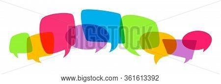 Overprint Various Speech Bubble Silhouet. Multicolored Bright Empty Design Elements, Dialog Color Cl