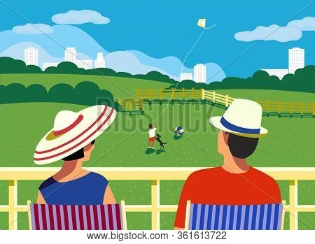 Adult Couple Staycation At Home Balcony In City House Flat Vector. Stay Home Vacation Enjoy Cartoon