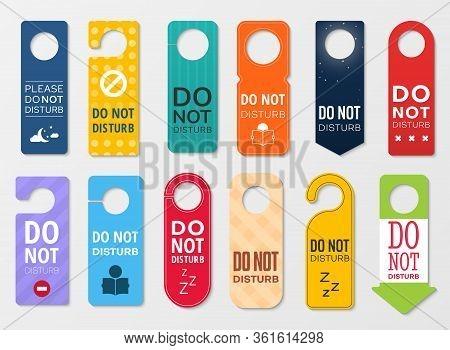 Do Not Disturb Vector Door Hanger Signs. Hotel Room Door Handle Or Knob Tags, Labels Or Cards With D