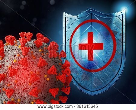 Shield Protects From Viruses Attack. Concept Of Stop Pandemic Of Covid 19 Crown Virus. 3d Illustrati