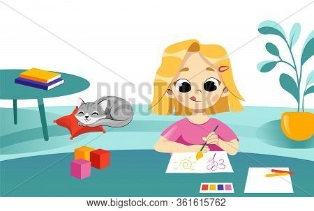 Concept Of Children Education And Back To School. Smiling Girl Do Homework, At Home On The Table. Ch