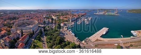 Pula, Croatia - September 13, 2019: Wide Aerial Stiched Panorama Of Arena An Ancient Roman Amphithea