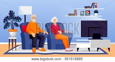 Elderly Retirement Couple Watching Tv In Living Room. Senior Man And Woman Sit On Sofa Together. Vec