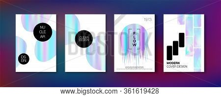 Holographic Gradient Vector Background. Iridescent Gradient Overlay Holograph Unfocused Cover.  Flui