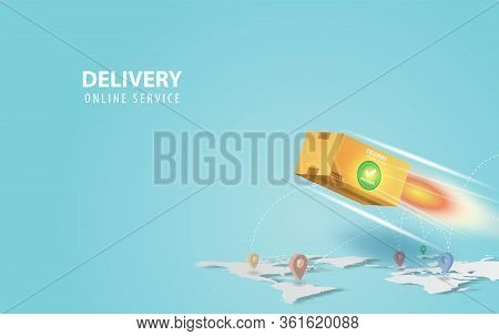 Online Delivery Concept Idea.fast Respond Delivery Package Shipping Background.online Order Tracking
