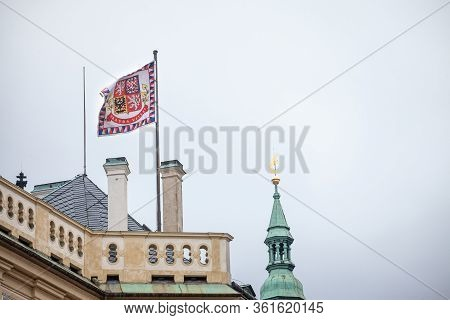 Official Flag Standard Of The President Of Czech Republic Floating Above Prague Castle (prazsky Hrad