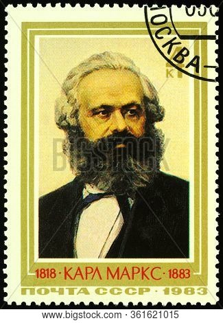Moscow, Russia - April 16, 2020: Stamp Printed In Ussr (russia), Shows Portrait Of German Philosophe
