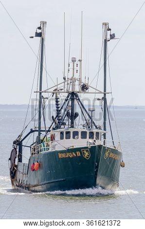 New Bedford, Massachusetts, Usa - April 14, 2020: Commercial Fishing Boat Iberia Ii Homebound For Ne