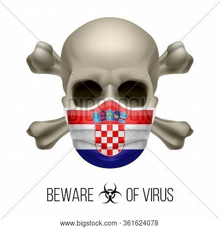 Human Skull With Crossbones And Surgical Mask In The Color Of National Flag Croatia. Mask In Form Of