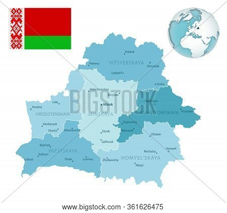Belarus Administrative Blue-green Map With Country Flag And Location On A Globe.