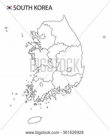 South Korea Map, Black And White Detailed Outline Regions Of The Country.