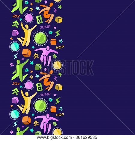 Repeating Seamless Pattern, Swatch, Vertical Border. Set Of Icons: Jumping People, Top View Trampoli