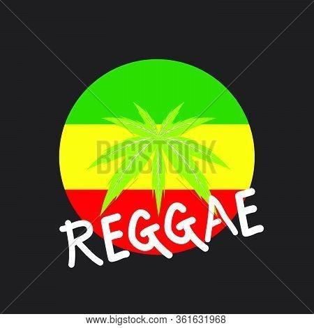 Musical Reggae Instrument And Rastafarian Elements On Black Background