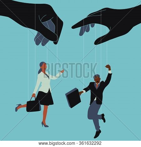 Business Men And Women Are Used To Work Like Puppets. Vector Illustration.
