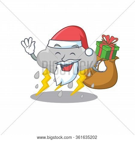 Cartoon Design Of Cloud Stormy Santa With Christmas Gift
