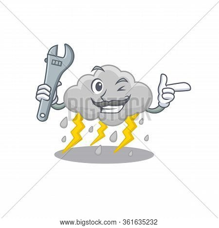 A Picture Of Cloud Stormy Mechanic Mascot Design Concept